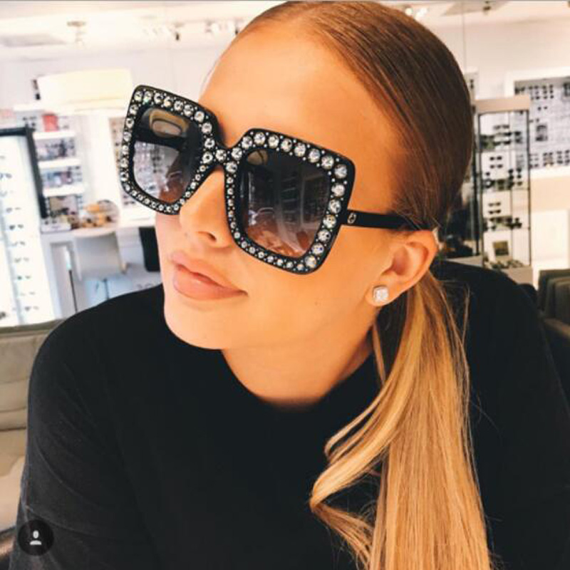Brand Designer Ladies Oversized Square Women Sunglasses Women Diamond Frame Mirror Glasses Female Goggle Safety Eyewear