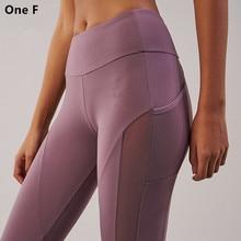 Women's High Waist Yoga Bukser Med Side Pocket Solid Mesh Sport Leggings Push Up Booty Fitness Klær Elegant Aspire Legging