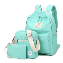 Korean casual women bookbags canvas printing backpack sets cute school bags backpacks for teenage girls shoulder bag