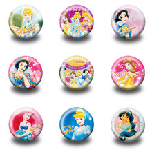 27-90 Stuks Cartoon Prinses Plastic Ronde Broche Badges Pins Button Badge Pinbacks Badge Voor Kids Kleding Rugzak Hoed decor(China)