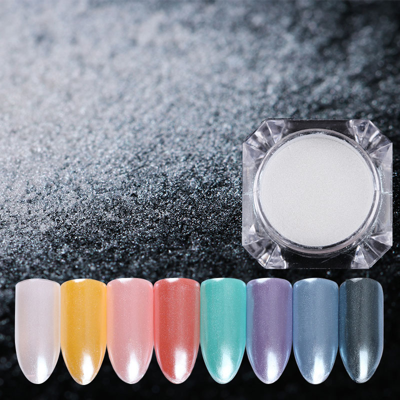 BORN PRETTY 1.5 g / doos Diamond Pearl Nail Art Glitter Shining White Powder Mermaid Powder DIY Nail Dust Decorations