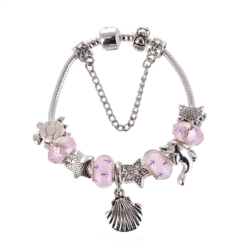 High Quality Pink crystal shell Pendant Noble Pretty Charm Bracelet Pandora Bracelet For Women/Gril gift jewelry Drop Shipping
