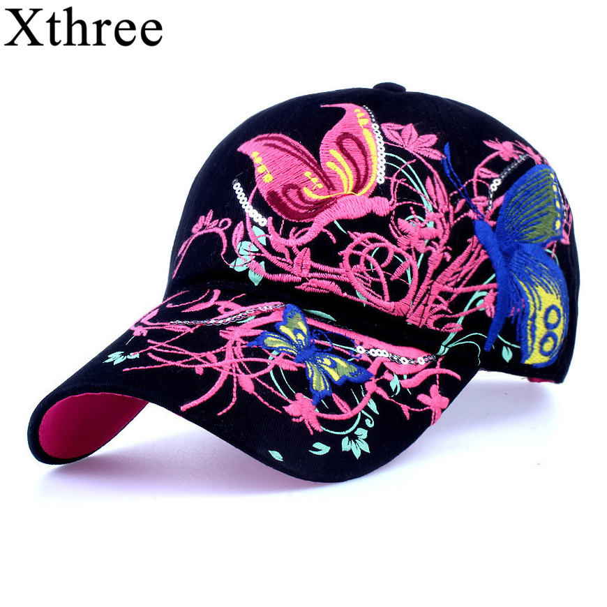 xthree High quality baseball hat cap Butterflies and flowers embroidery cotton caps Casual hats snapback cap fashion for  women fashion printed skullies high quality autumn and winter printed beanie hats for men brand designer hats