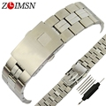 ZLIMSN 19mm Stainless Steel Watch Band Men's Silver Watch Strap Polished and Brushed Replacement Bracelet for Tissot T049