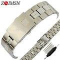 Zlimsn 19mm faixa de relógio de prata dos homens de aço inoxidável assistir cinta de aço polido e escovado substituição pulseira para tissot t049
