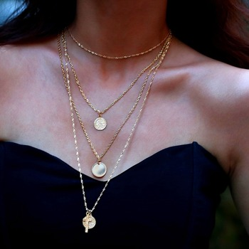 2018 Simple Long Gold Chain Necklace for Women Cross Commemorative Coin Pendant Multi Layer Necklace Fashion Collar Jewelry Чокер