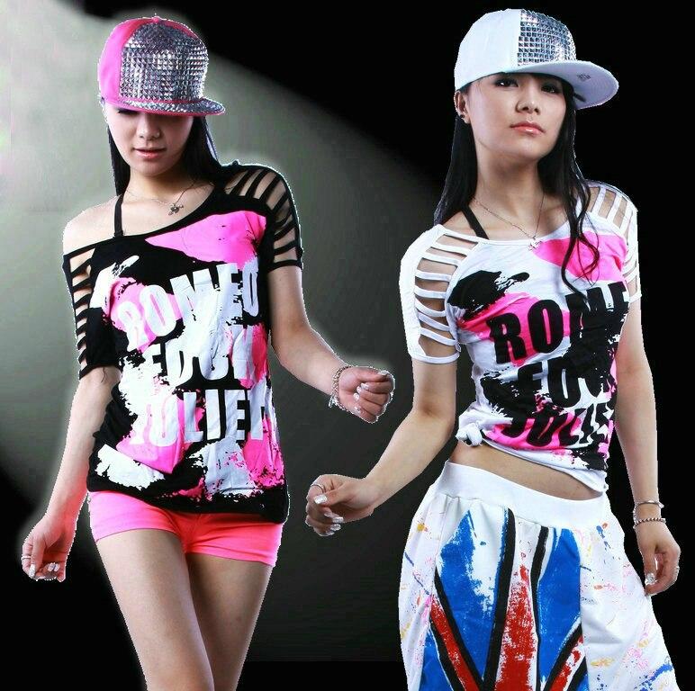 Nouveau Mode Jazz Ds Harem T Shirt Femme Femmes Top lâche Découpe Doodle Évider Harajuku Punk Hip Hop Danse t-shirt