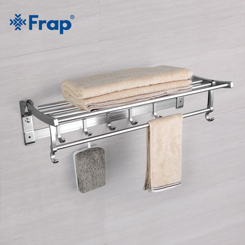 Frap Modern Style Wall Mounted Space Aluminum Silver Surface Towel Bars Towel Hanger Adjustable Towel Rack With Hooks F808