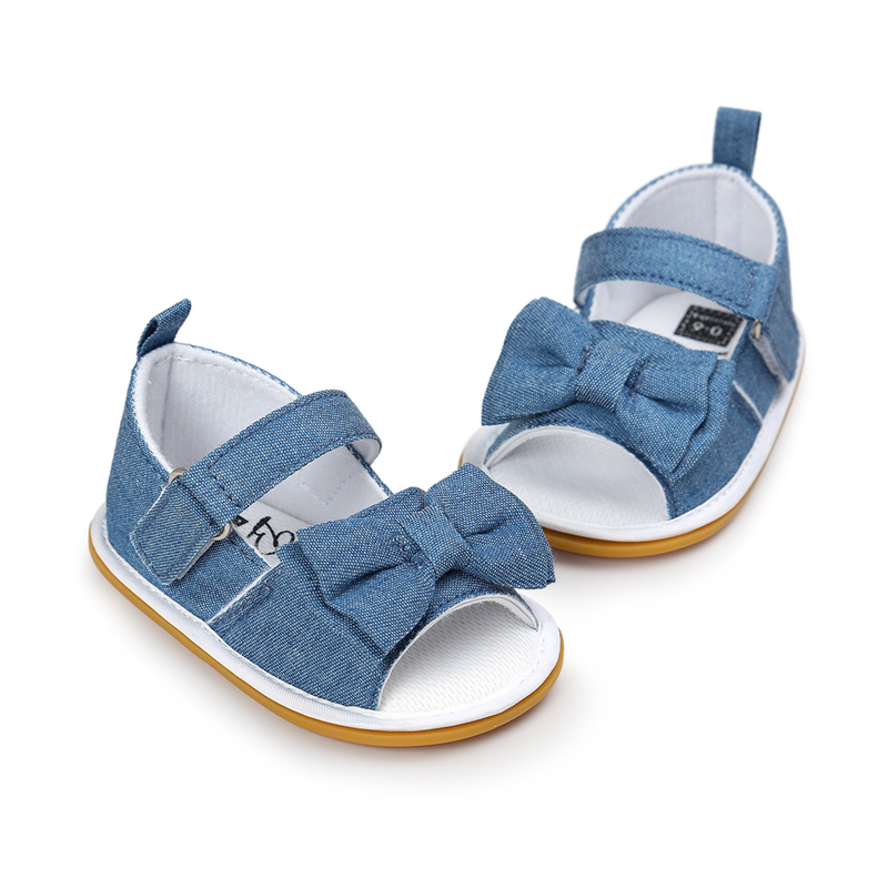 Newdesign Baby Girl Gingham Eller Stripe Butterfly-Knot Hook & Loop Flat Heel Summer Sandaler For (0-18) Months Baby
