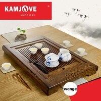Бесплатная доставка KAMJOVE венге твердой древесины чай лоток резьба по дереву сделать чай машина интеллектуальные чай art плита весь чайный на