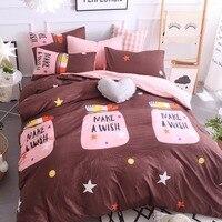 Koffie + Roze Cartoon Patroon Fles Comfortabele Huishoudtextiel Beddengoed 4 st/3 st Beddengoed Sets Bed Linnen Dekbed Voorblad Zachte