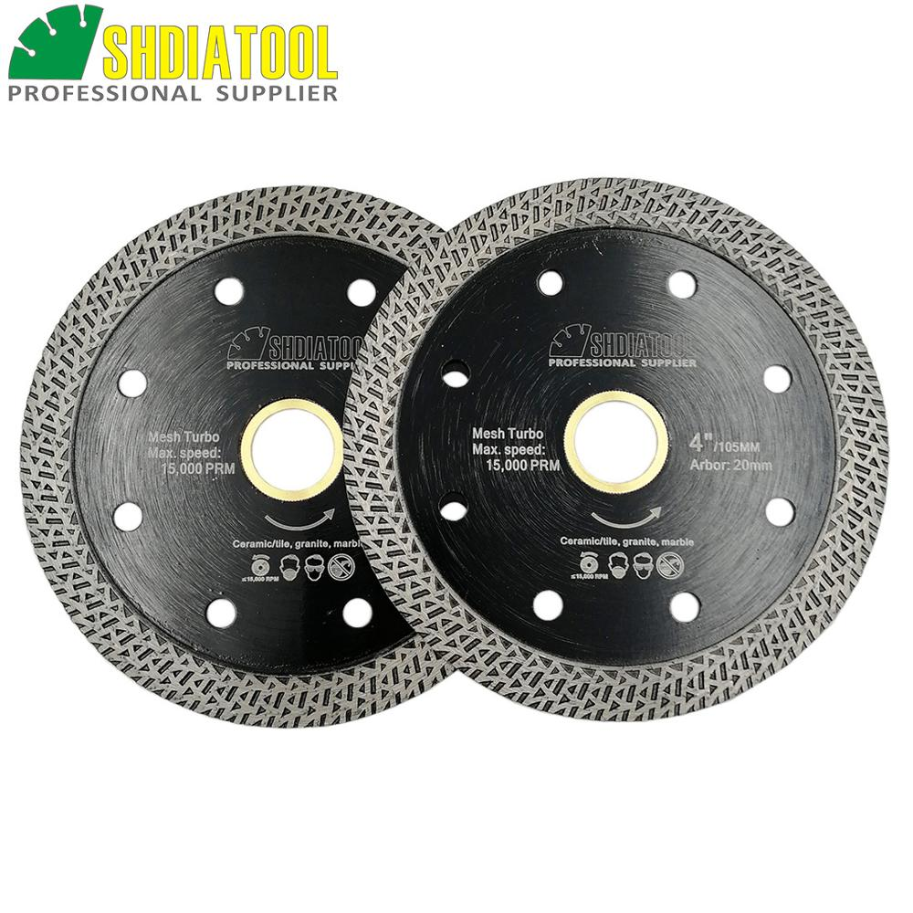 SHDIATOOL 2pcs Hot Pressed Sintered Mesh Turbo Diamond Saw Blade Hard Material Diamond Wheel Cutting Disc 105MM 115MM Or 125MM