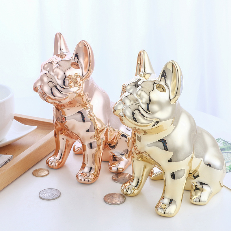 Ceramic crafts mirror cartoon puppy piggy bank access piggy piggy bank desktop decoration