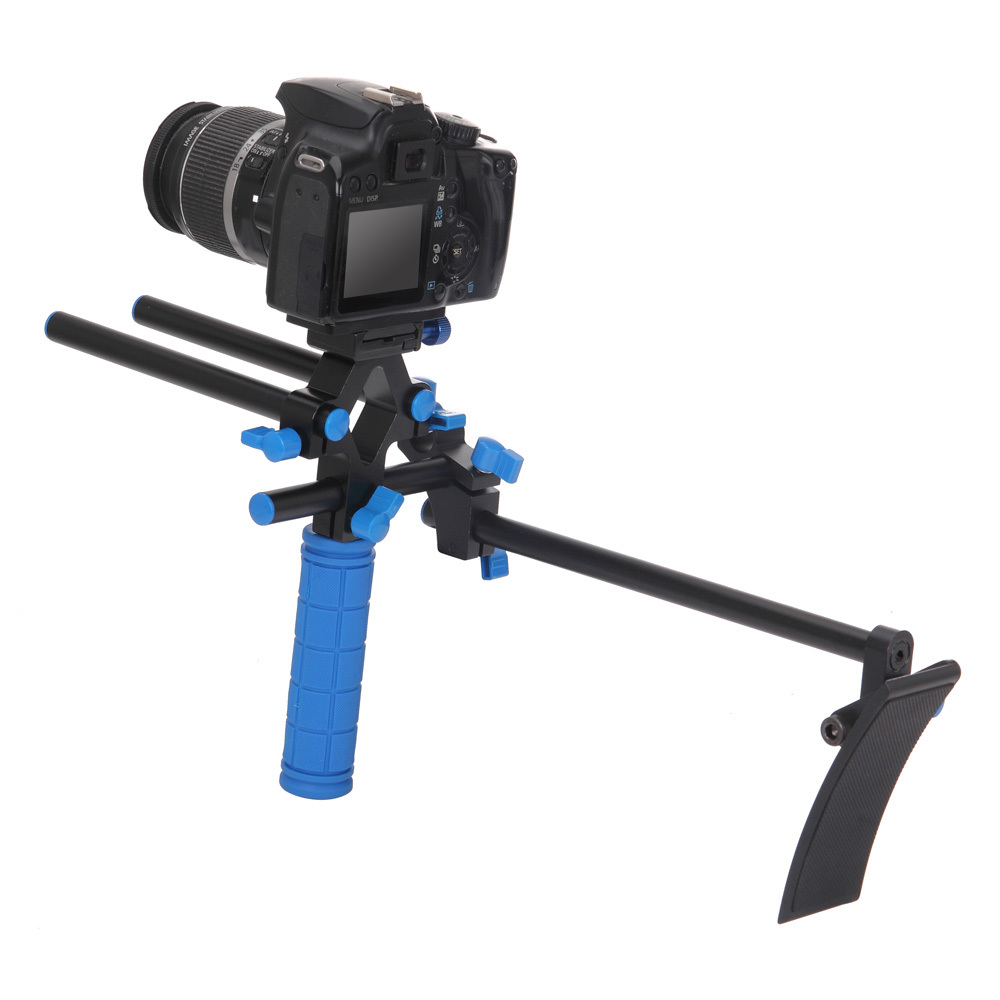 Koolertron Professional 15mm Rail Dia DSLR Shoulder PAD Support Mount Rig+Hand Grip for Cannon Sony DV HDV HD Camcorder 2016 new koolertron hand grip handle shoulder mount rig follow focus adjust platform matte box sunshade for dslr cannon nikon