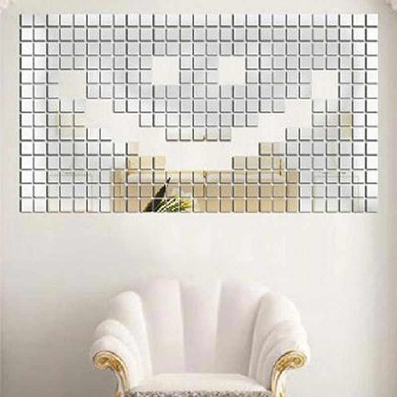 100 piezas * 2*2 CM acrílico espejo pared pegatinas etiqueta mosaico cuadrado habitación etiqueta de la pared para habitaciones de niños en casa decoración plata azul oro