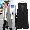 Europe Star Same Style Spring Autumn Fashion Medium Long Plus Size Sleeveless Suit Vest Slim Waistcoat Women Weskit M-6XL