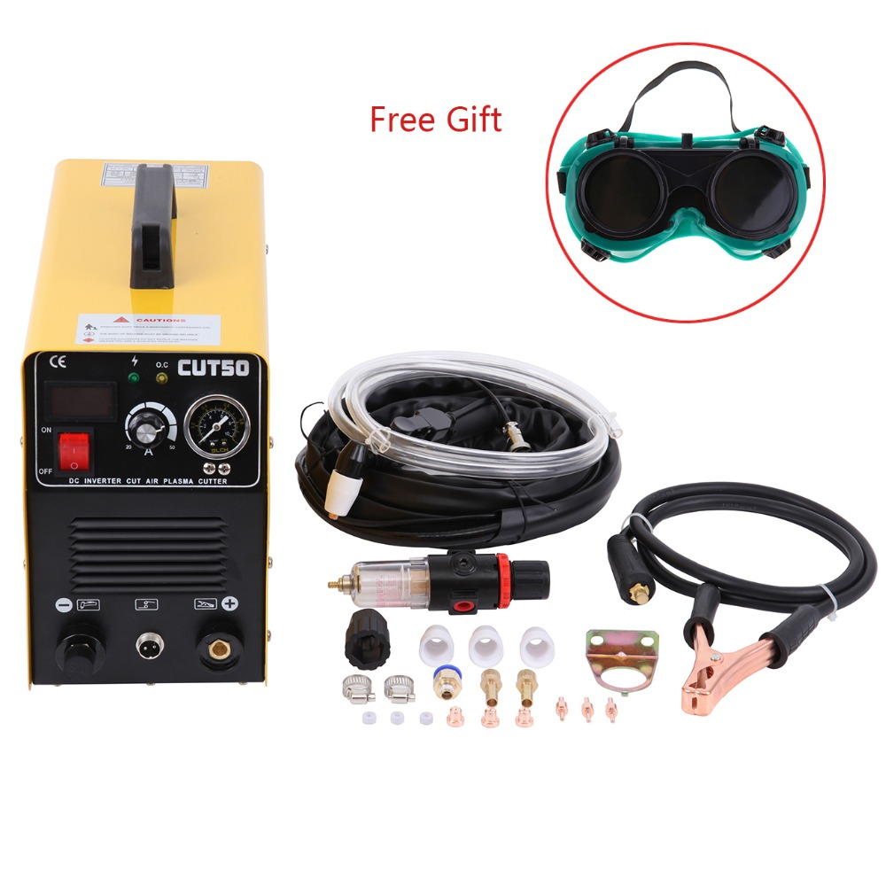 (Ship from EU) 50A Plasma Cutter Cutting Machine Arc with Pressure Gauge Welding Accessories Free glasses ship from germany portable dc inverter plasma cutter with pressure gauge waterproof 5 5kva 220v
