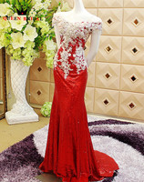 Custom Made 2015 New Design A Line Luxury Crystal Evening Dress Robe De Soiree Long Lace