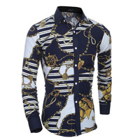 Camisas Hombre Vestir Dress Shirts Mens Shirt Slim Fit Chemise Homme Men Shirt Retro Embroidery Heren
