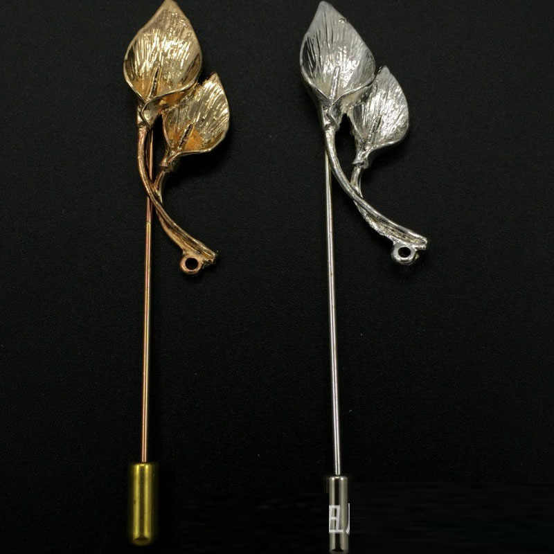 df1a6af24d2 ... 2018 Fashion Jewelry Gold Silver Metal Pins Long Brooch Flower Lapel Pin  Men Suit Brooch Broche ...