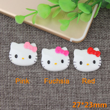 39b4e4c01 50pcs/Lot 27x23mm Hot Sale Cute Cat Hello Kitty Cabochon Resin Flatback  Ribbon Bow Cabochon
