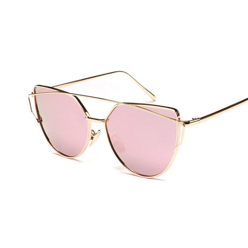 2016 Fashion Sunglasses Women Luxury Cat Eye Sunglasses Famous Lady Brand Designer Twin-Beams Sunglasses Coating Mirror Glasses
