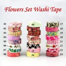 2016 New 1x Hot Stamping Flowers designs Japanese Washi Tape Scrapbooking Decorative DIY Masking Tape Office Adhesive Tape 10M цена и фото
