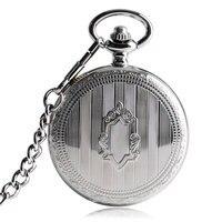 Fob Silver Stylish Pocket Watch Women Steampunk Automatic Mechanical Self Winding Stripe Cool Trendy Gift Shield