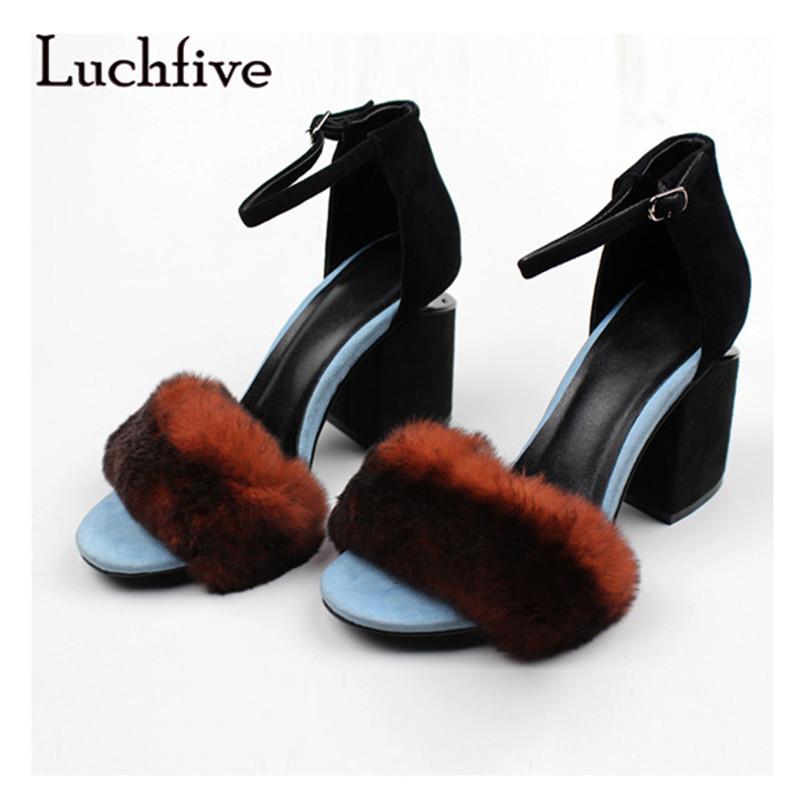 2018 New summer fur women sandals fashion Open Toe Chunky High Heels female shoes Ankle Buckle Strap black zapatos mujer new fashion rivet hollowed out women sandals round toe chunky high heels ankle buckle female sandals mesh ladies leisure shoes