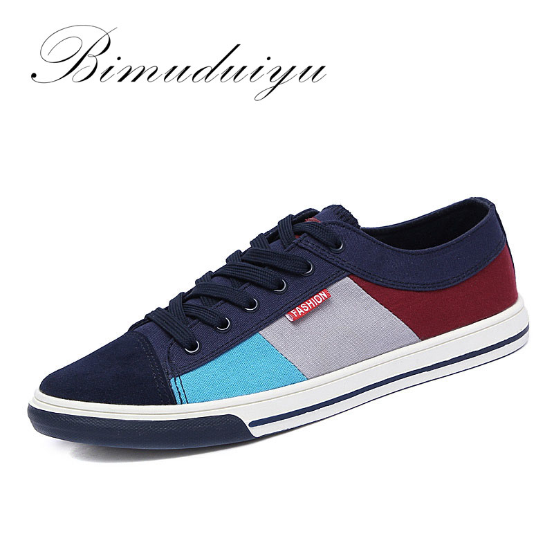 BIMUDUIYU New Spring Summer Breathable Fashion Men Canvas Shoes Hot Sale Men's Lace-up Flat Casual Shoes Jogging Driving Shoes