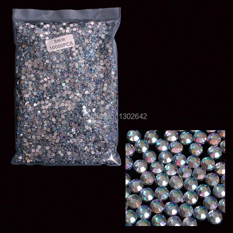 3AB  10000pcs Free Shipping 3MM AB Acrylic Nail Tool Round Rhinestones Stones Nail Art DIY Nail Tips Crystal Crafts realflame 10000 ab дровник