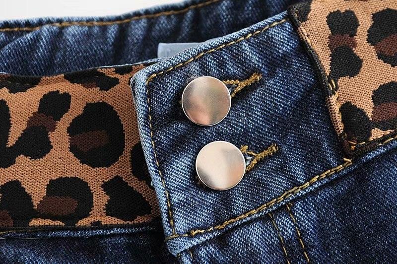 Estampado Cintura Vaqueros Gran Black Verano Leopardo Moda Mujer Slim Mamá De Fit Alta blue Rectos Tamaño XA8qg