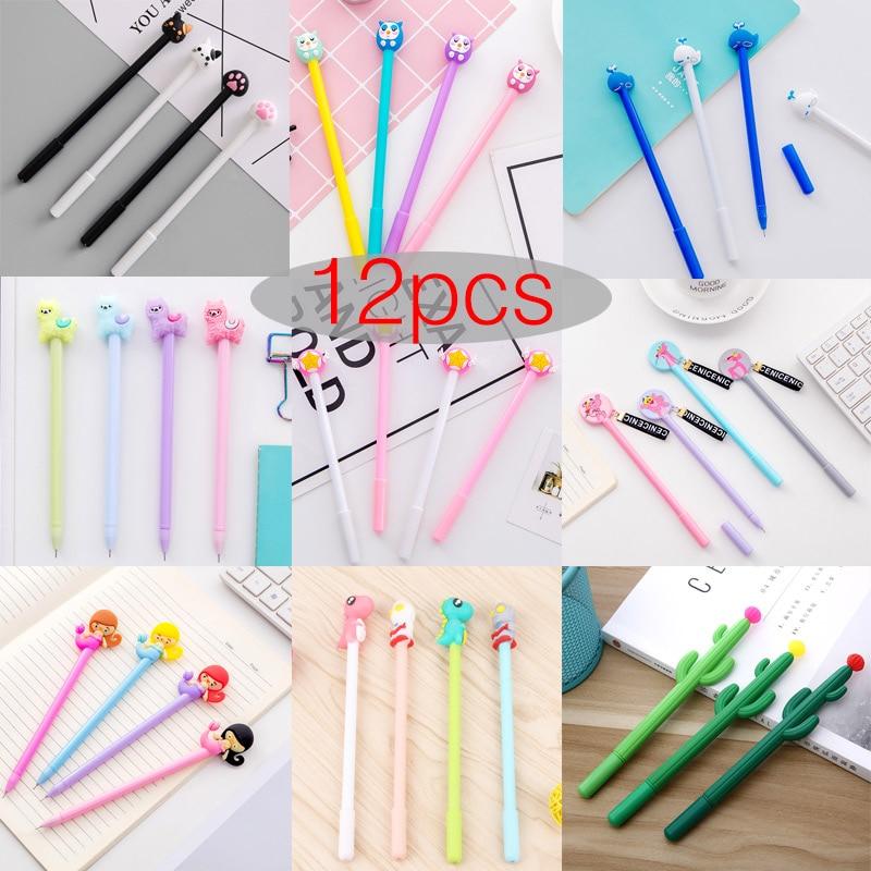 12pcs Creative Pendant Korean Stationery Donuts Candy Gel Pen 0.38mm Student Pens Stationery Kawaii School Supplies School Tools