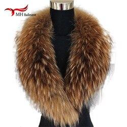 Bufanda de cuello de piel Real de zorro mapache de Color Natural, bufandas de tamaño grande genuinas, chal de urdimbre, calentador de cuello, bufanda con Clip Loops #6