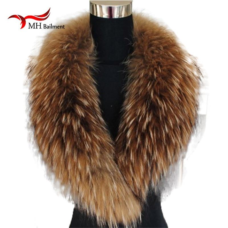 Couleur naturelle raton laveur renard véritable fourrure col écharpe véritable grande taille foulards chaîne châle cou plus chaud étole silencieux avec Clip boucles #6