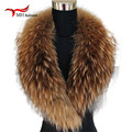 Natural Color Raccoon Fox Real Fur Collar Scarf Genuine Big Size Scarves Warp Shawl Neck Warmer Stole Muffler with Clip Loops #6