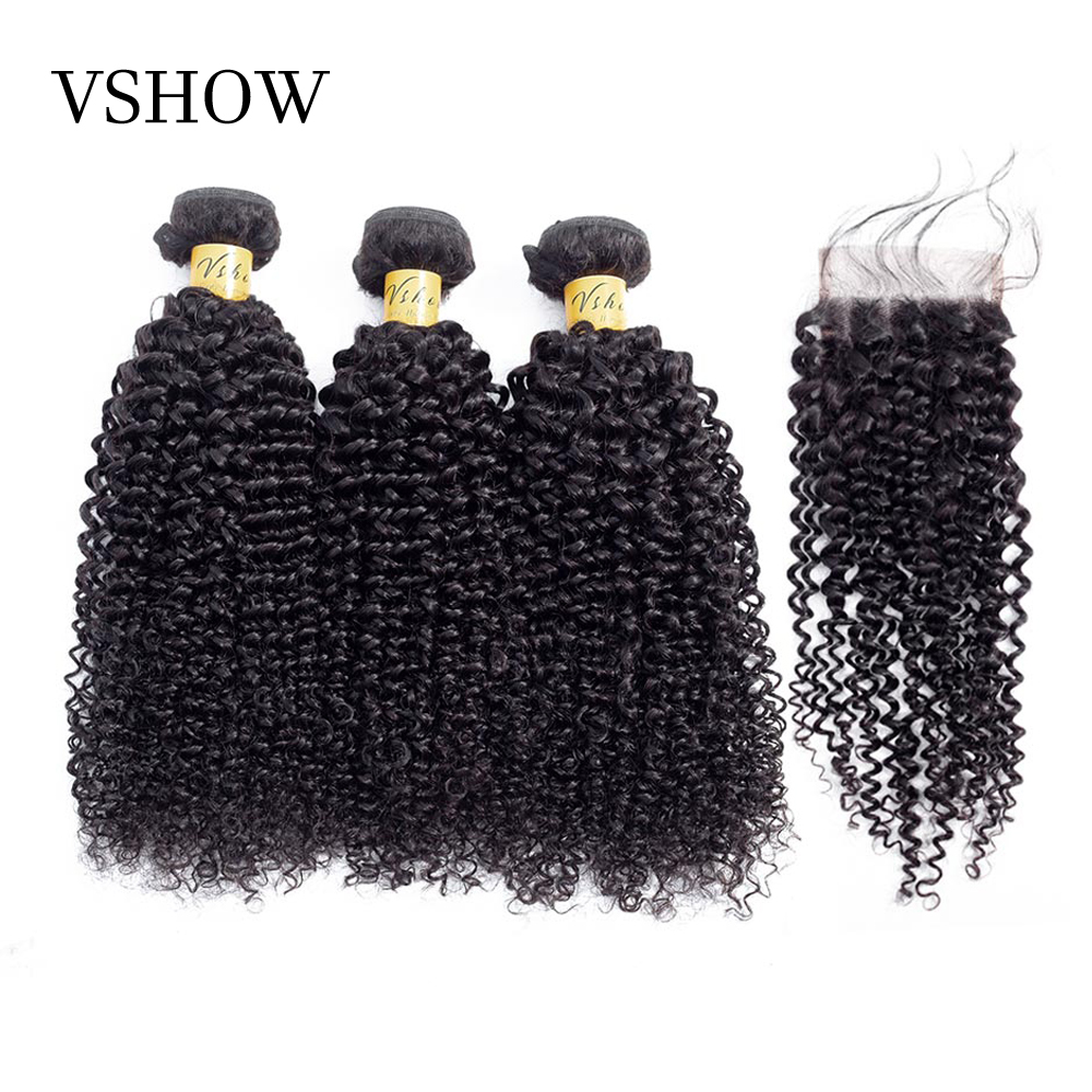 Mongolian Kinky Curly Bundles With Closure Free Part 3 Bundles With Closure VSHOW Remy Human Hair