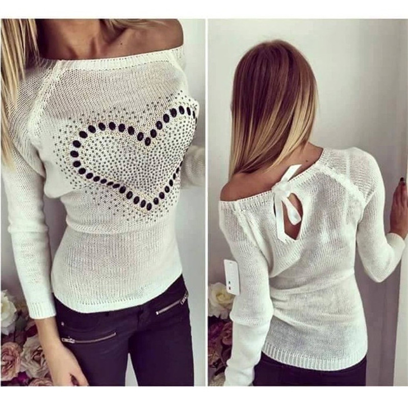 New Women Knitted Sweater Pullover 2017 Autumn Sexy Off Shoulder Heart Patter...