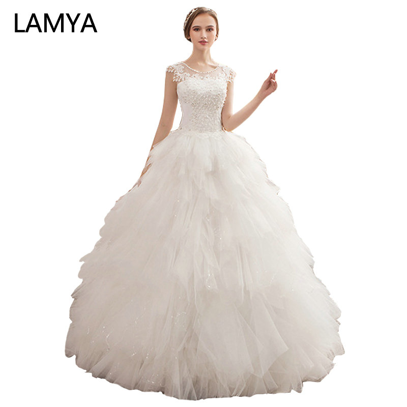 LAMYA Fashionable Pearl Beading Wedding Dresses O Neck Lace Tiered Bridal Gown Bohemian Floor Length Vestido De Noiva