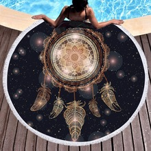 New Black Gold Large Microfiber Round Beach Towels Camping Picnic Yoga Mat Blanket serviette de bain Towel Drop Shipping