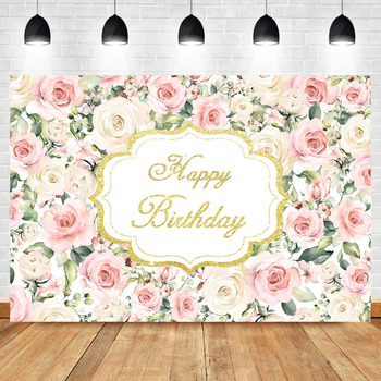 NeoBack Flower Backdrop Adult Baby Child Birthday Party Banner Background Photography Gold Pink Rose Photo Custom