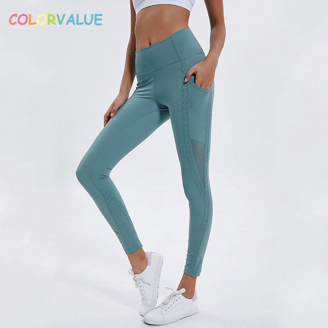 9c310a7030cb9 Colorvalue Side Pocket Running Fitness Leggings Women Flowery Design  Sweatproof Sport Athletic Tights Yoga Pant Activewear XS-XL