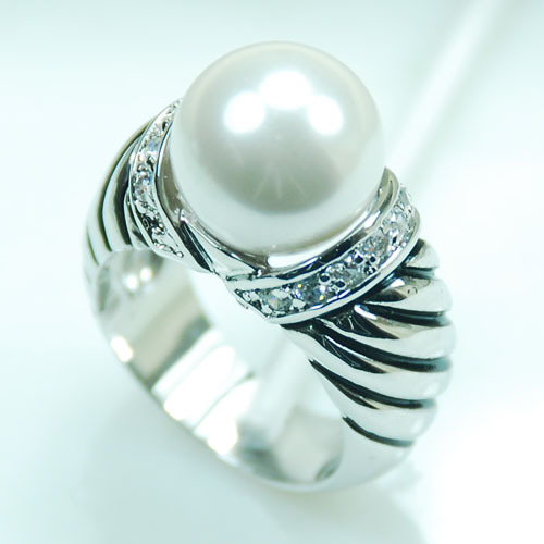White Pearl White Crystal Zircon Women 925 Sterling Silver Ring F709 Size 6 7 8 9 10