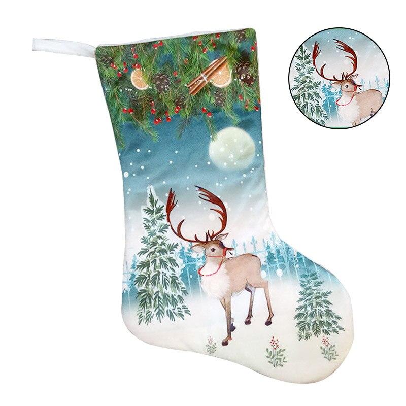 Christmas Stocking Colorful Santa Snowman Deer Pattern Holiday Stockings