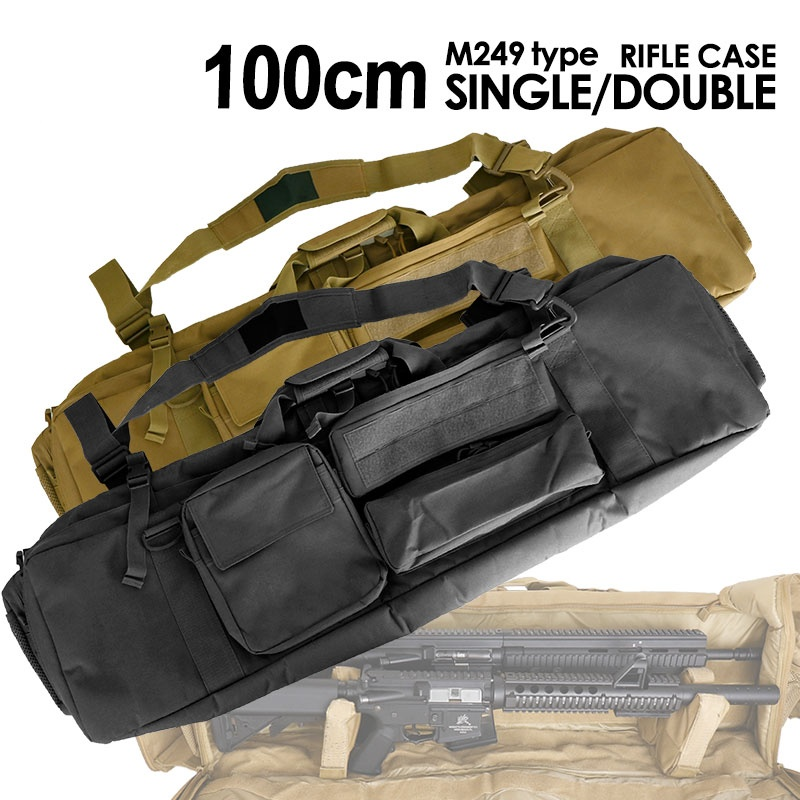 CQC 100CM Tactical M249 Gun Bag Airsoft Military Hunting Rifle Backpack Gun Protection Case With Shoulder Strap 85cm 100cm 120cm tactical hunting backpack dual rifle square carry bag with shoulder strap gun protection case backpack