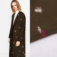 Roupas De Lã bordados Tecido Tecidos para Vestuário de Impressão Estética Vestido Casaco Vestido Preto Flores Novo estilo Especial de Moda