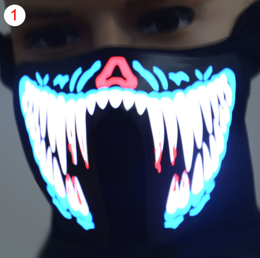 Halloween Luminous Flashing Face Mask Party Masks Light Up Dance Halloween Cosplay 2018