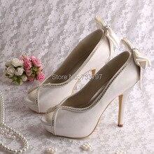 (20สี) Wedopusไอวอรี่ซาตินแต่งงานแพลตฟอร์มปั๊มรองเท้าด้วยโบว์ที่ด้านหลัง