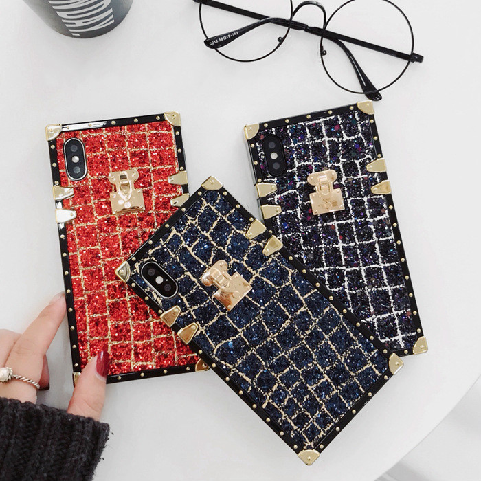 SZYHOME Phone Cases for Iphone X 6 7 8 Plus Luxury Classical Pretty Square Sparkle Glitter Metal Square Lattice Phone Cover