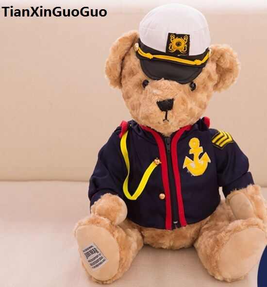 Brinquedo criativo sobre 35 cm capitão ursinho de pelúcia urso de brinquedo macio lance boneca travesseiro presente de aniversário b2898